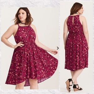 Torrid Butterfly Floral Challis High Low Dress 0